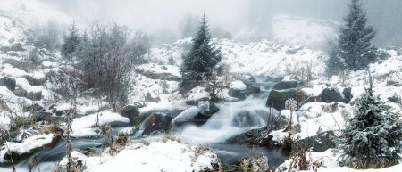 Fog in winter mountains panoramic